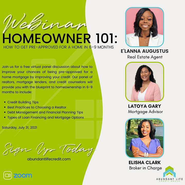 Homeowner 101 Webinar: How to get pre-approved for a home in 6-9 months. image