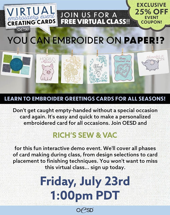 Rich's Sew and Vac Virtual Embroidery Event image