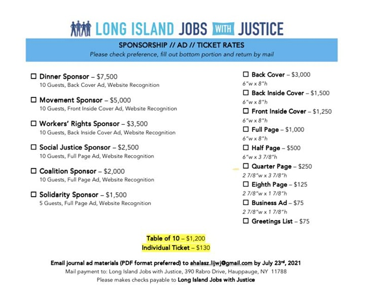 Long Island Jobs with Justice Awards Dinner image