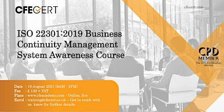 ISO 22301:2019 BCMS Awareness Course tickets