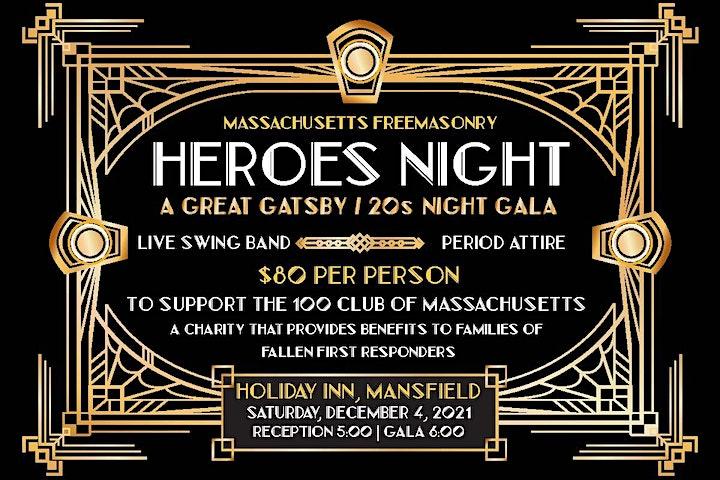 Massachusetts Freemasonry Heroes Night To Benefit The Hundred Club of Mass image