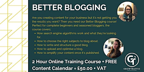 Better Blogging course tickets