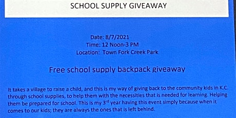 """2021 """"Back to School"""" Supply Give Away tickets"""