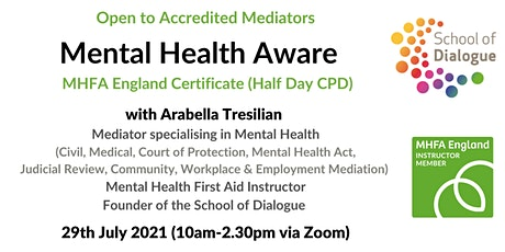 Mental Health Aware - Certificated CPD  - for Accredited Mediators tickets