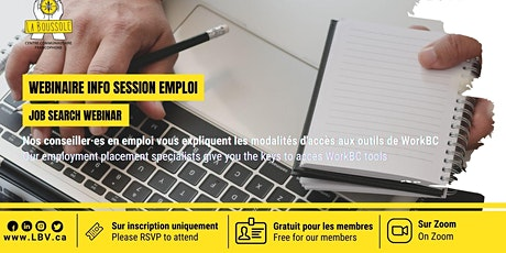 Info session emploi - webinar billets