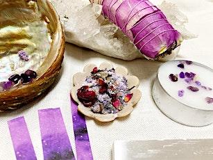 New Moon Gathering inclusive ritual tools (Bathsalt, Smudge stick, Manifest tickets