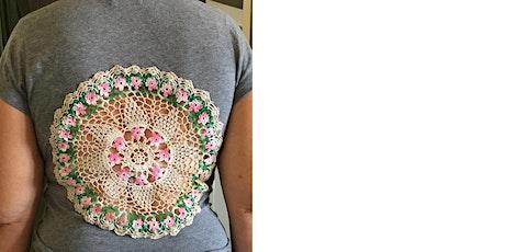 Sew a bespoke gorgeous doily window t-shirt and ma tickets