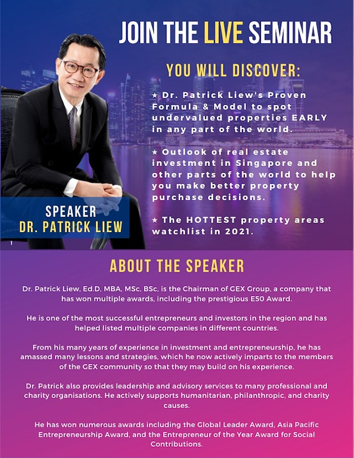 *[FREE ONLINE Property Investing MASTERCLASS by Dr Patrick Liew!]* image