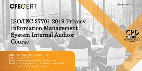 ISO/IEC 27701:2019 PIMS Internal Auditor Course tickets