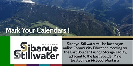 East Boulder Mine Tailings Storage Facility Community Education Meeting Tickets