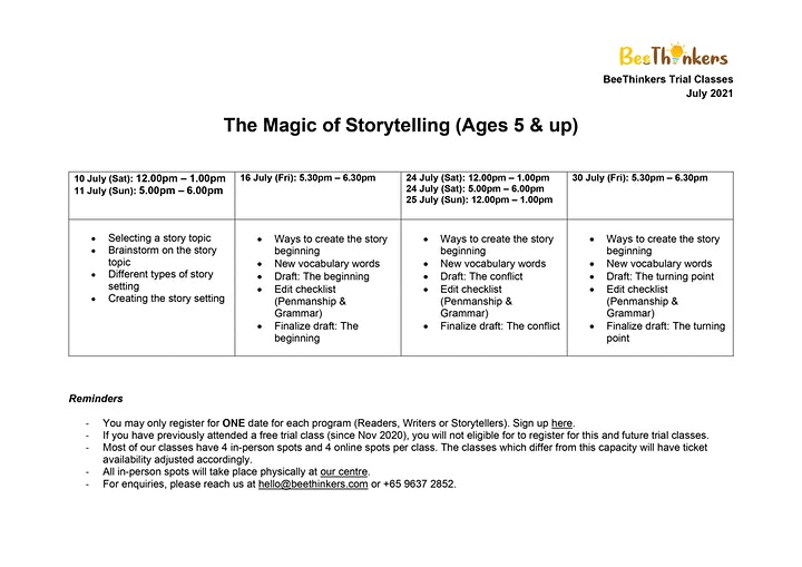 The Magic of Storytelling for Ages 5 & Up (July 2021) image