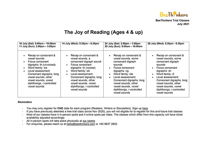 The Joy of Reading for Ages 4 & Up (July 2021) image