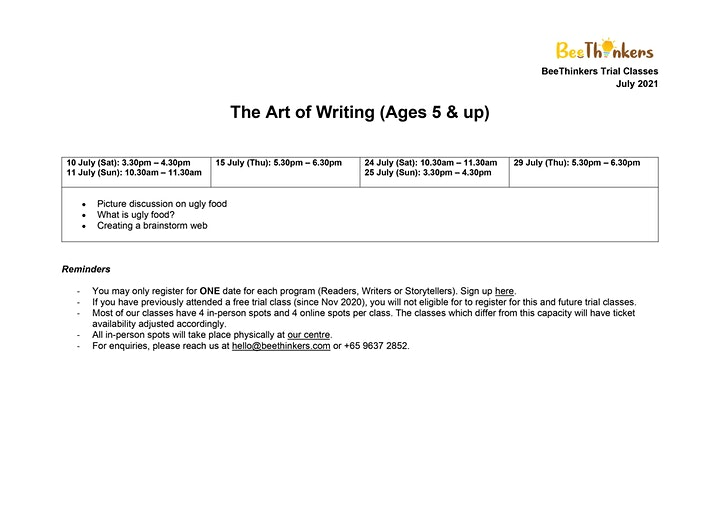 The Art of Writing for Ages 5 & Up (July 2021) image
