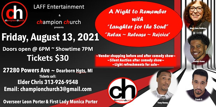 """A Night to Remember with """"Laughter for the Soul""""  Relax ~ Release ~ Rejoice image"""