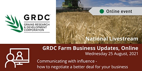 GRDC  National Livestream  August 2021 - Communicating with influence tickets