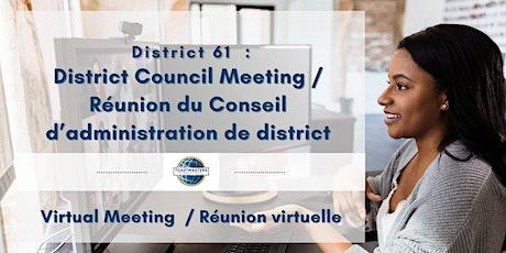District Council / Le Conseil d'administration de district tickets