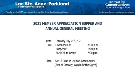 2021 Member Appreciation Supper and AGM tickets