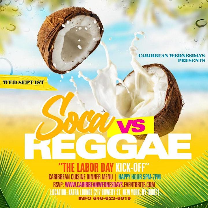 Caribbean Wednesdays Presents Reggae vs Soca | Happy Hour 5pm-7pm image