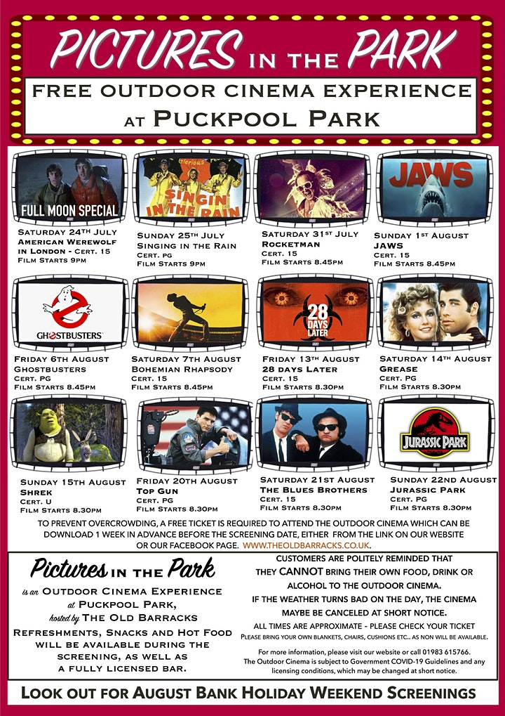 Pictures in the Park - FREE Outdoor Cinema image