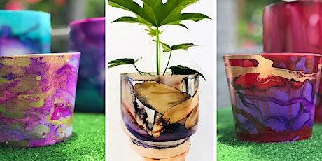 7 SPOTS LEFT- Alcohol Inks - Planter workshop tickets