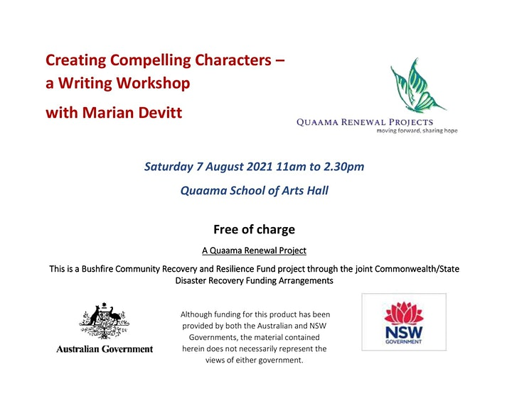 Creating Compelling Characters – a Writing Workshop  with Marian Devitt image