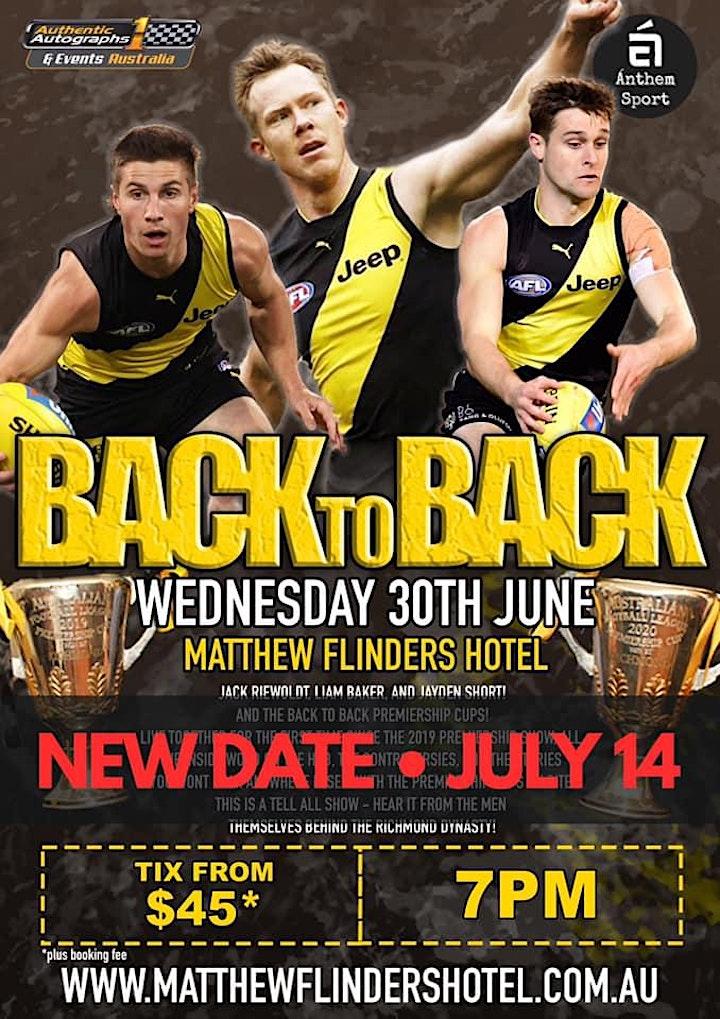 Back 2 Back Premiers Reiwoldt, Baker & Short LIVE at Matthew Flinders Hotel image