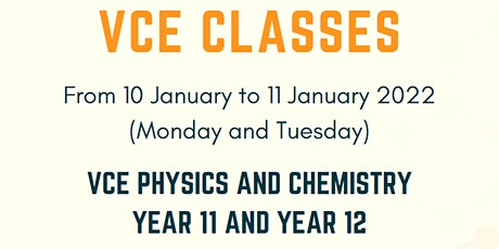 VCE Chemistry, VCE Physics  (Online preparatory Seminars for Y11 and Y12) tickets