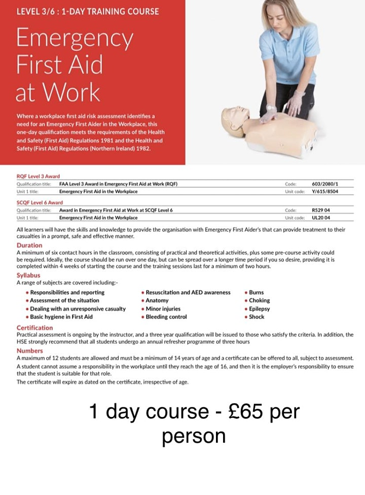 Level 3 Award - Emergency First Aid at Work image