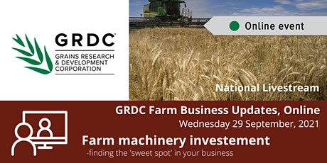 GRDC  National Livestream 29 September - Farm machinery investment tickets