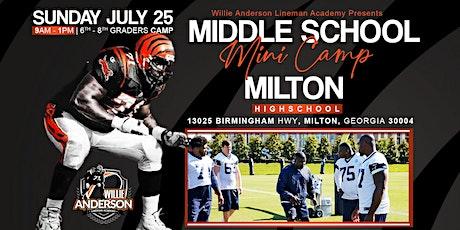 WillieAndersonLinemanAcademy presents JR high Offensive Line  mini camp tickets