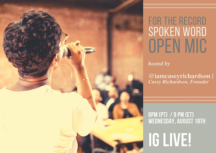 August For the Record Spoken Word Open Mic Event image