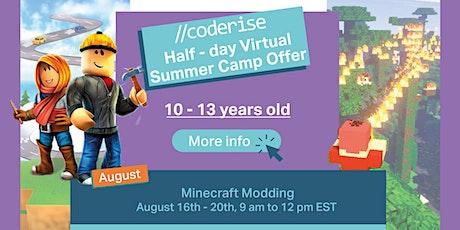 CODERISE LIVE Online Coding Camp   Minecraft Modding  10 - 13 y.o tickets