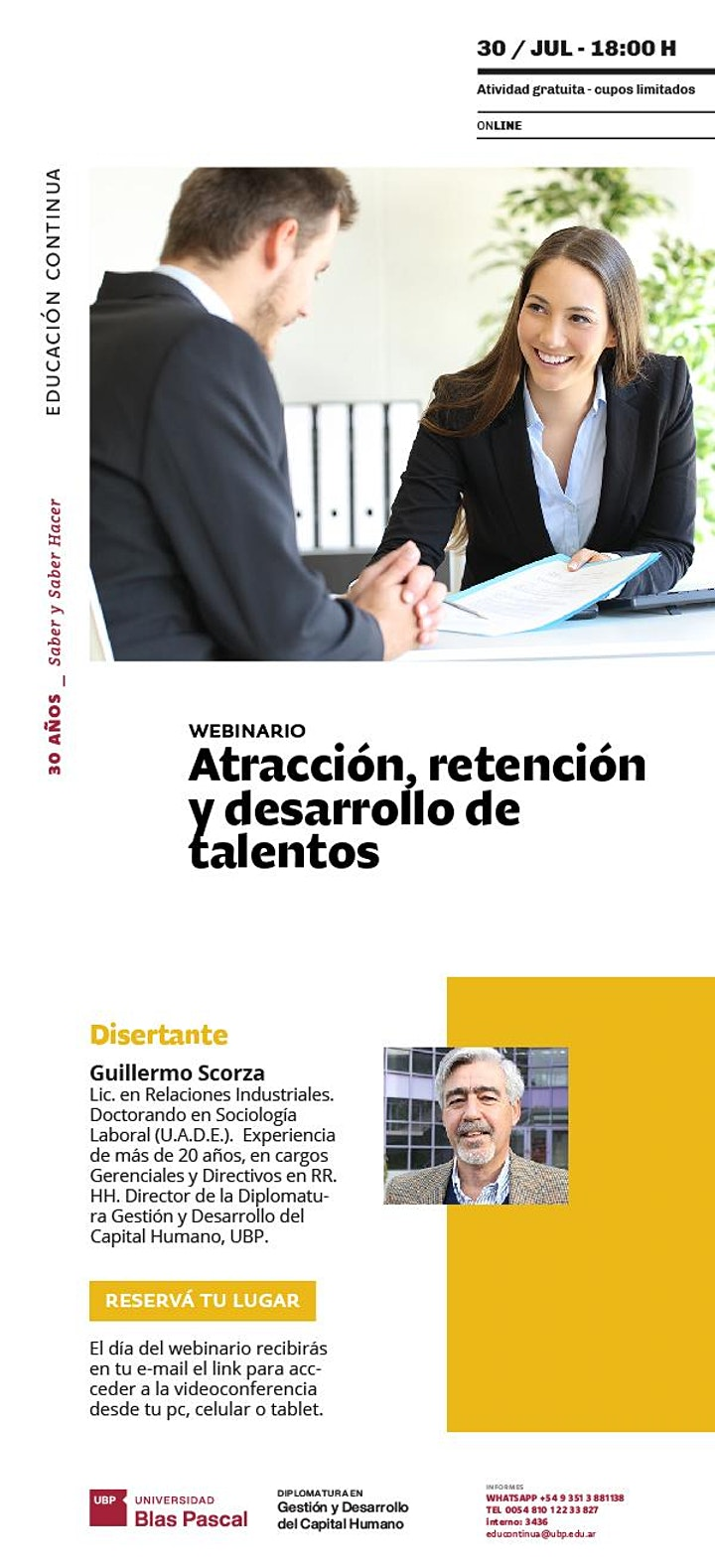 Imagen de Webinario> Atracción, retención y desarrollo de talentos