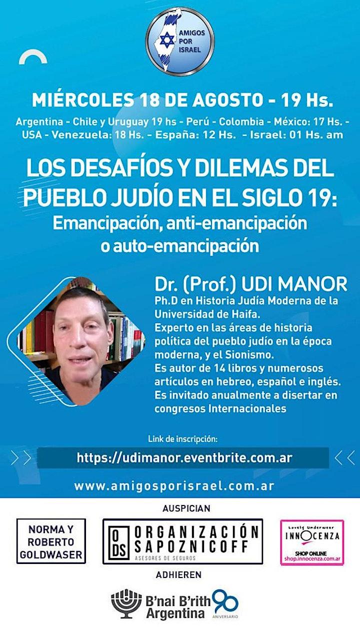 Imagen de LOS DESAFÍOS Y DILEMAS DEL PUEBLO JUDÍO EN EL SIGLO 19: DR. UDI MANOR