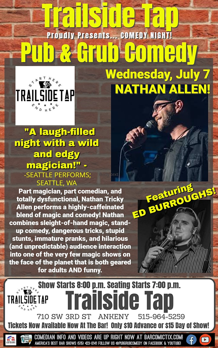 ANKENY, IA | Pub & Grub Comedy with Nathan Allen + Ed Burroughs! image