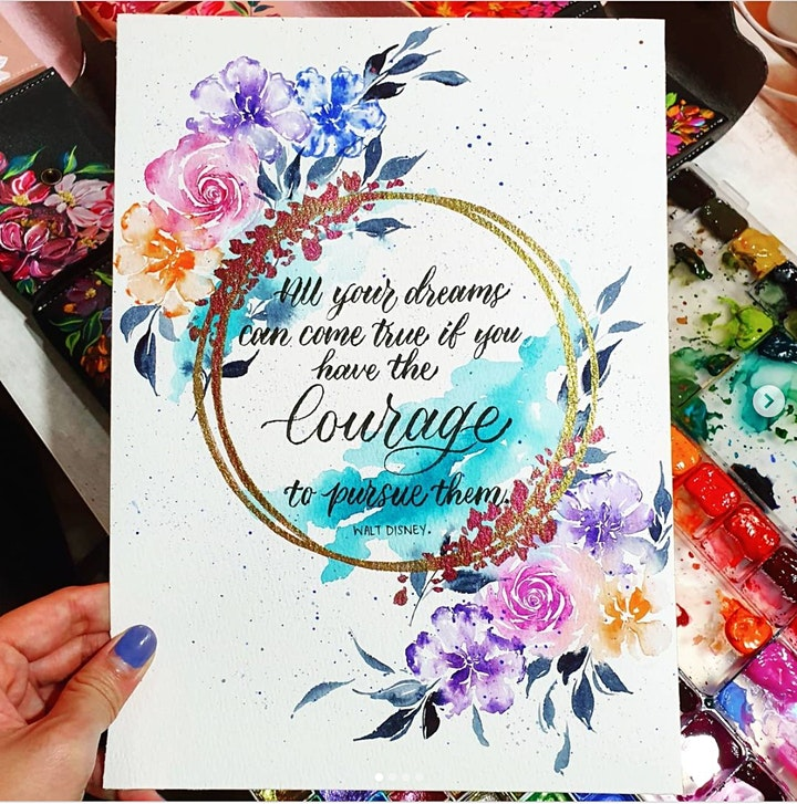 Watercolor Florals & Brush Lettering Course starts Nov 11(8 Sessions) image