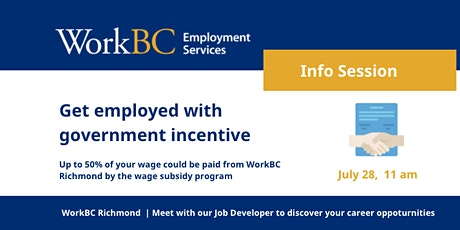 July 28_Get hired with Government Incentive_WorkBC Richmond tickets