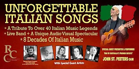 UNFORGETTABLE ITALIAN SONGS - RCC PARKVILLE 29/08/2021 tickets