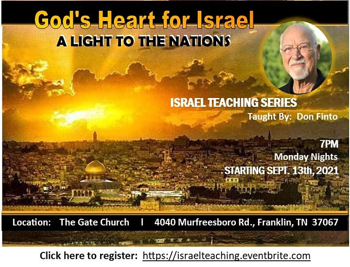 Israel Teaching Series  - Monday Nights  - Taught By:  Don Finto image