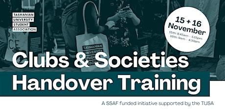 Club and Societies Handover Training tickets