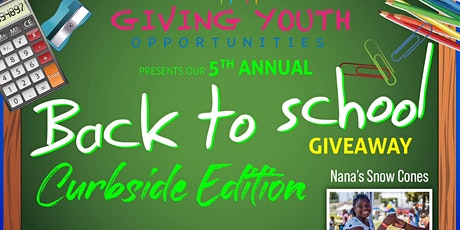 """G.Y.O's  5th Annual Back to School Giveaway """"Curbside Edition"""" tickets"""