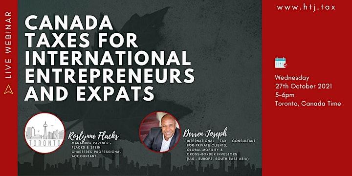 (WEBINAR) CANADA TAXES FOR INTERNATIONAL ENTREPRENEURS AND EXPATS. image