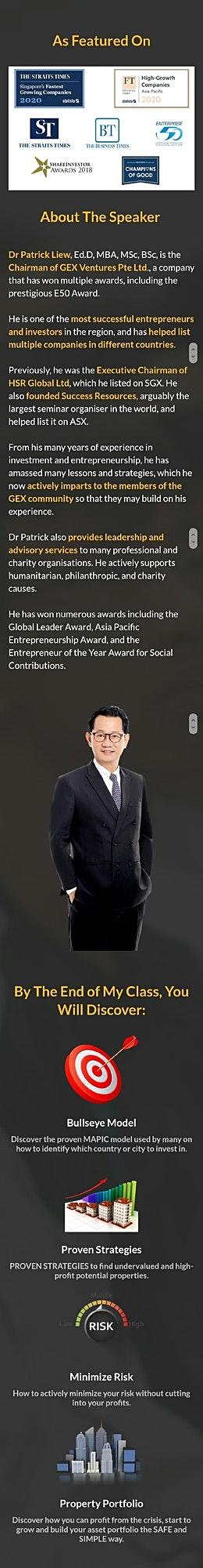 FREE ONLINE Property Investing Extensive Class by Dr Patrick Liew image