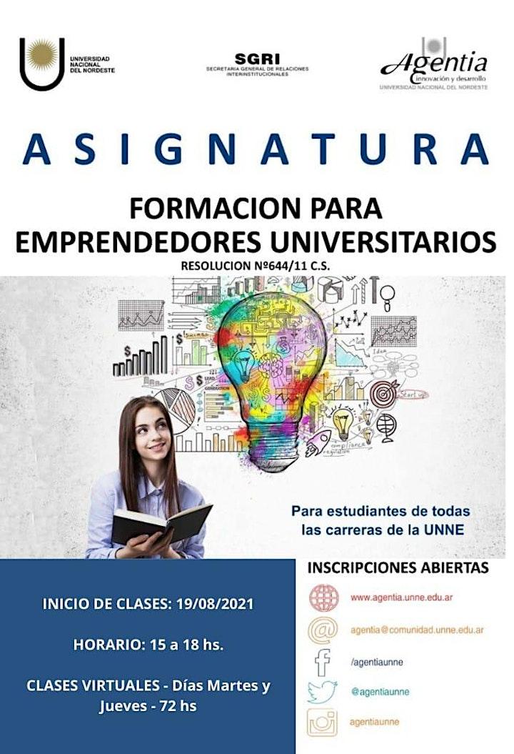 Imagen de ASIGNATURA FORMACIÓN PARA EMPRENDEDORES UNIVERSITARIOS - 2ºSemestre 2021