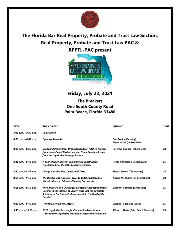 41st Annual RPPTL Legislative Update image
