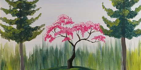 """Paint Party at Bike Dog Brewing Co. with Creatively Carrie! """"Cherry Tree"""" tickets"""