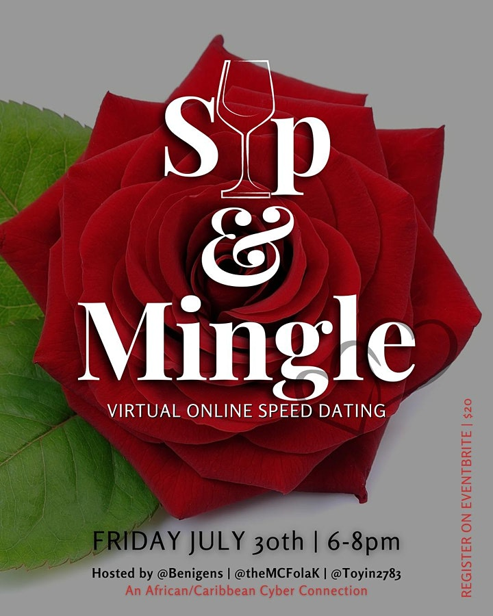 Sip & Mingle  - An African/Caribbean VIRTUAL Speed-Dating Event image