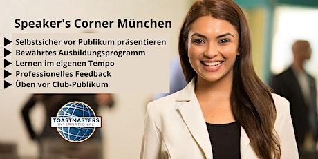Rhetorik lernen - Speaker's Corner München - Toastmaster Club Tickets