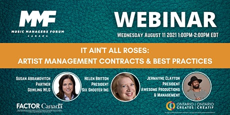 MMF CANADA WEBINAR: Artist Management Contracts & Best Practices tickets