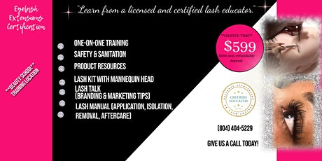 1-Day Private Lash Training Class ...PLUS Online Cosmetology Option tickets